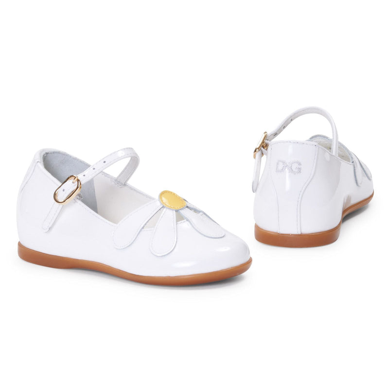 Baby Girls White Leather Sandal With White Patch Flower Trims - CÉMAROSE | Children's Fashion Store