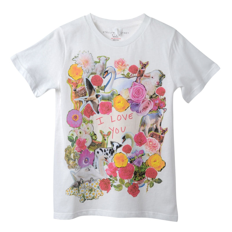 Girls White Cotton T-Shirt With Floral 'I love you' Print Trims - CÉMAROSE | Children's Fashion Store