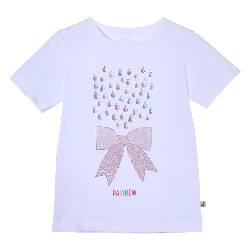Girls White Rainbow And Bow printed Cotton T-Shirt - CÉMAROSE | Children's Fashion Store - 1