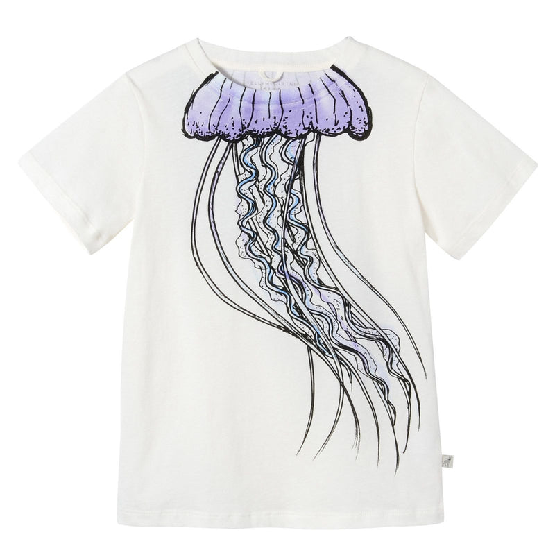 Girls White Jellyfish Printed Cotton T-Shirt - CÉMAROSE | Children's Fashion Store - 1