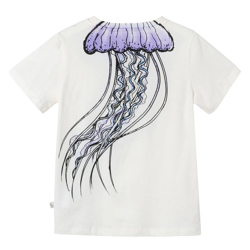 Girls White Jellyfish Printed Cotton T-Shirt - CÉMAROSE | Children's Fashion Store - 2