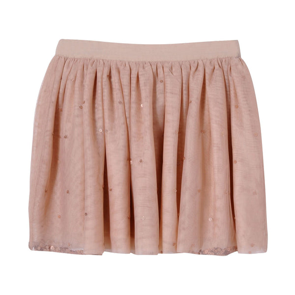 Girls Pink Scattered Sequins Trims Tulle Party Skirt - CÉMAROSE | Children's Fashion Store - 1