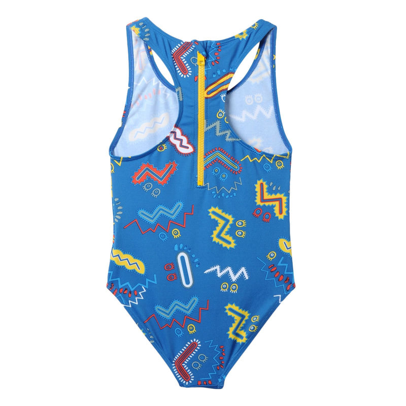 Girls Bright Blue Zig Zag Printed Swimsuit - CÉMAROSE | Children's Fashion Store - 2
