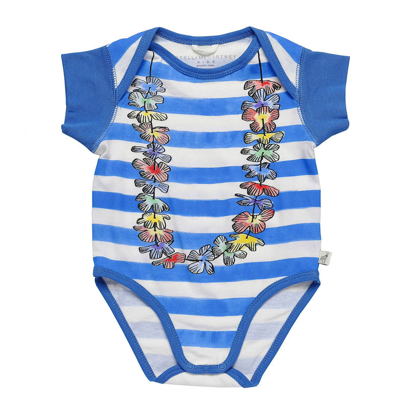 Baby Blue&White Striped Bodysuit With Floral Print Trims - CÉMAROSE | Children's Fashion Store