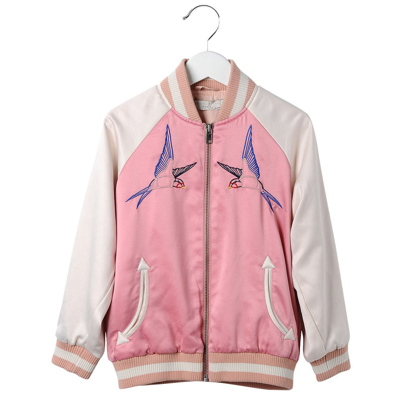 Girls Pink Cotton Embroidered Bird Trims Jacket - CÉMAROSE | Children's Fashion Store - 1