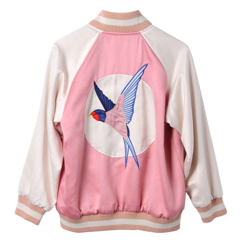 Girls Pink Cotton Embroidered Bird Trims Jacket - CÉMAROSE | Children's Fashion Store - 2