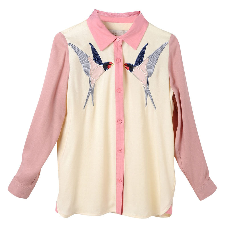 Girls Pink Bird Embroidered Trims Blouse With Pointed Collar - CÉMAROSE | Children's Fashion Store - 1