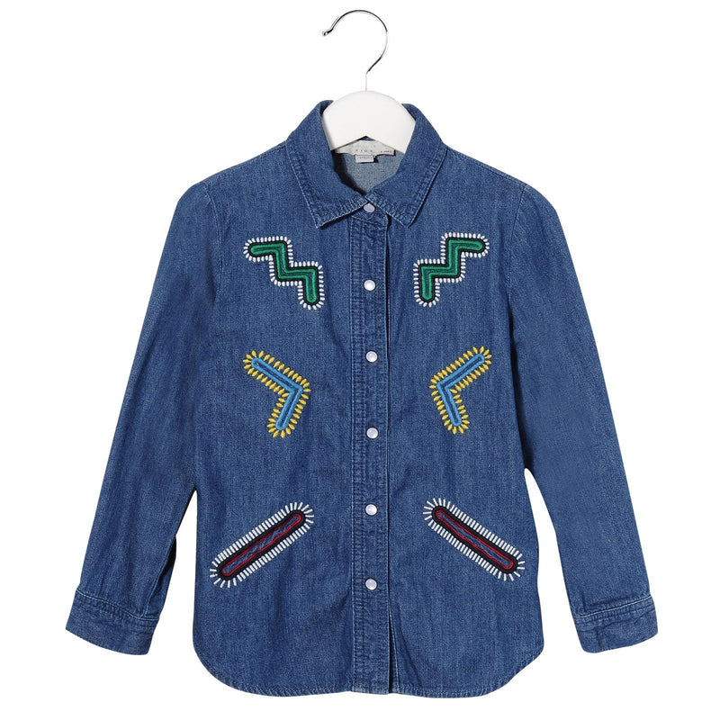 Girls Blue Cotton Denim Blouse With Colorful Zig Zag Embroidered Trims - CÉMAROSE | Children's Fashion Store - 1