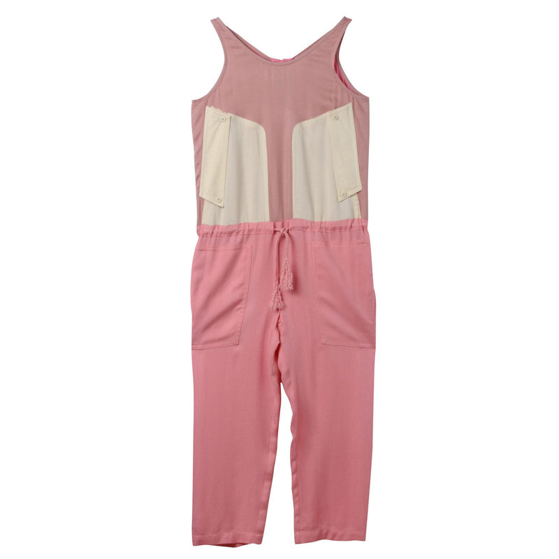 Girls Dark Pink Jumpsuit With Bow Trims - CÉMAROSE | Children's Fashion Store - 1