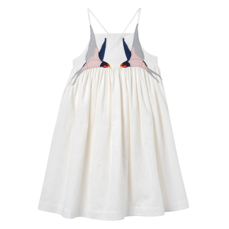 Girls White Cotton Woven Dress With Bird Embroidered Trims - CÉMAROSE | Children's Fashion Store - 1