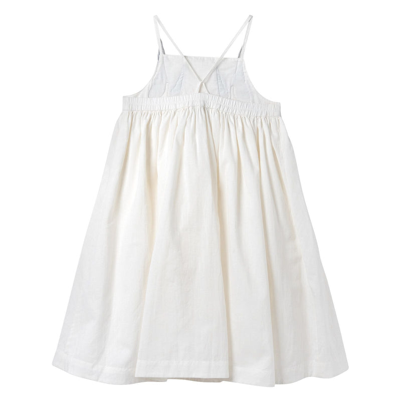 Girls White Cotton Woven Dress With Bird Embroidered Trims - CÉMAROSE | Children's Fashion Store - 2