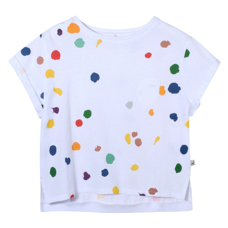 Girls White Cotton Splat Printed T-Shirt With Curved Hem - CÉMAROSE | Children's Fashion Store - 1