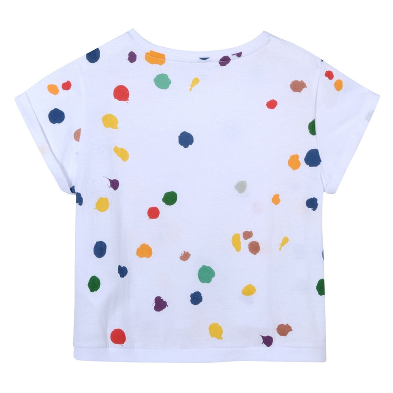 Girls White Cotton Splat Printed T-Shirt With Curved Hem - CÉMAROSE | Children's Fashion Store - 2