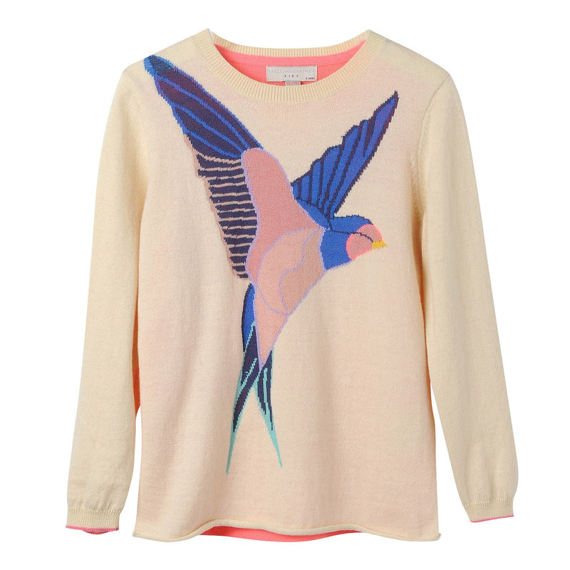 Girls Beige Knitted Bird Intarsia Trims Sweater - CÉMAROSE | Children's Fashion Store - 1