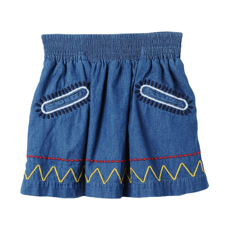 Girls Blue Denim Chambray Skirt With Colorful Zig Zag Embroidered Trims - CÉMAROSE | Children's Fashion Store - 1