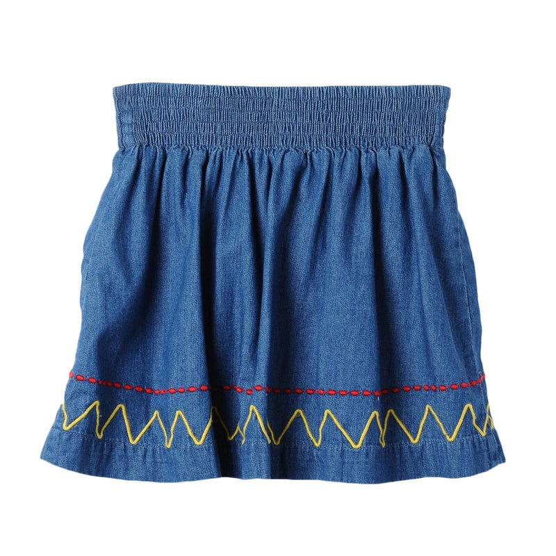 Girls Blue Denim Chambray Skirt With Colorful Zig Zag Embroidered Trims - CÉMAROSE | Children's Fashion Store - 2