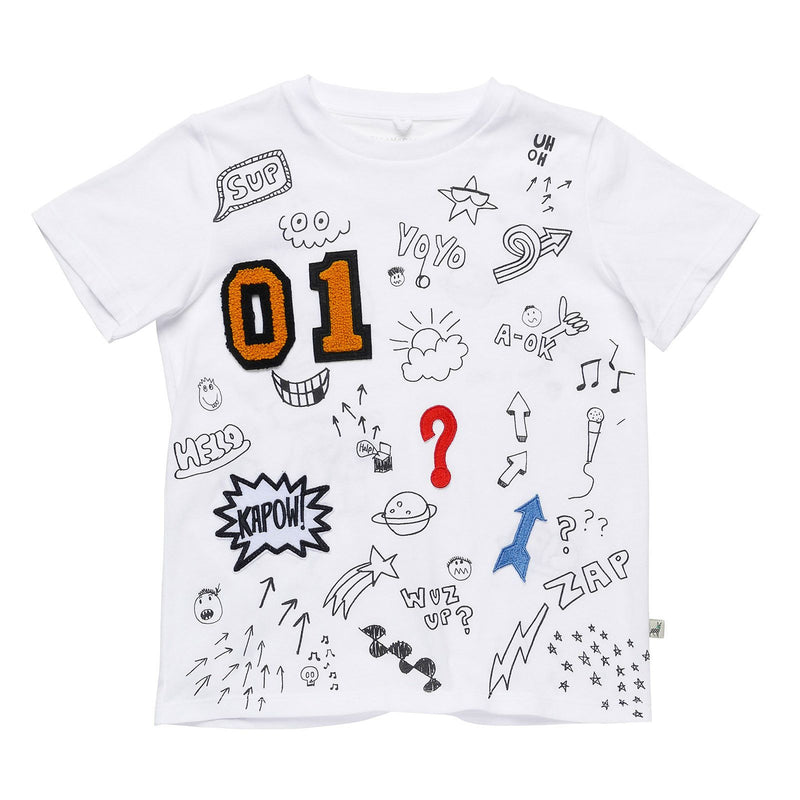 Boys White Cotton T-Shirt With Different Types Graph Print - CÉMAROSE | Children's Fashion Store