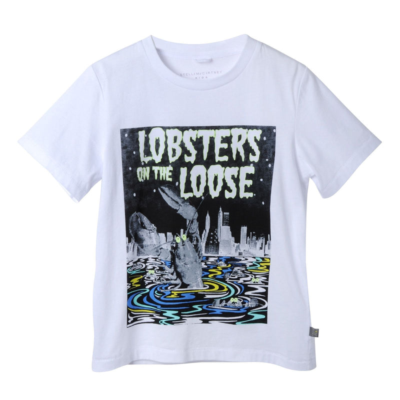 Boys White Cotton T-Shirt With Lobster On The Loose Print - CÉMAROSE | Children's Fashion Store