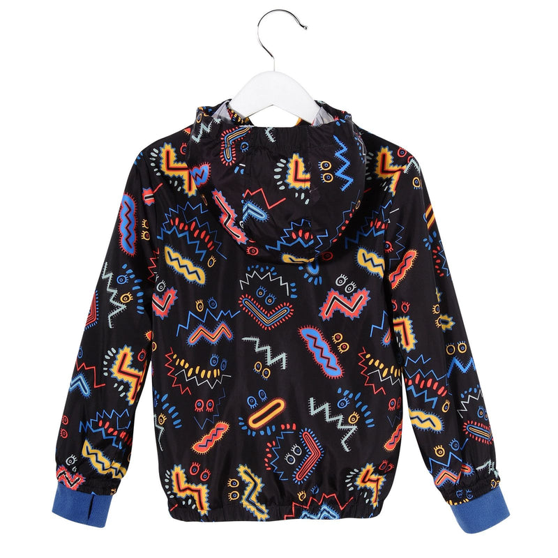 Girls Black Zig Zag Printed Hooded Outerwear Zip-up Tops - CÉMAROSE | Children's Fashion Store - 2