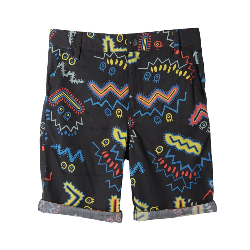 Boys Black Cotton Zig Zag Printed Shorts - CÉMAROSE | Children's Fashion Store - 1