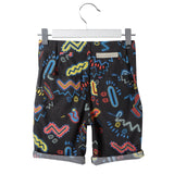 Boys Black Cotton Zig Zag Printed Shorts - CÉMAROSE | Children's Fashion Store - 2