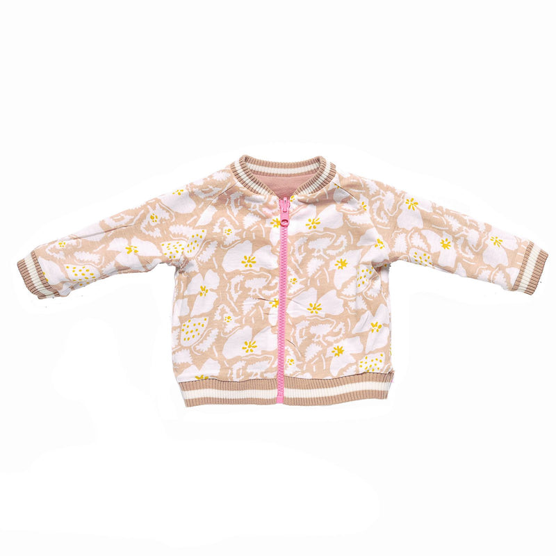 Baby Dark Pink Cotton Jacket With Orange Strawberry Print Trims - CÉMAROSE | Children's Fashion Store