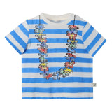 Baby Girls White&Blue Striped Cotton T-Shirt With Strawberries Print Trims - CÉMAROSE | Children's Fashion Store - 1