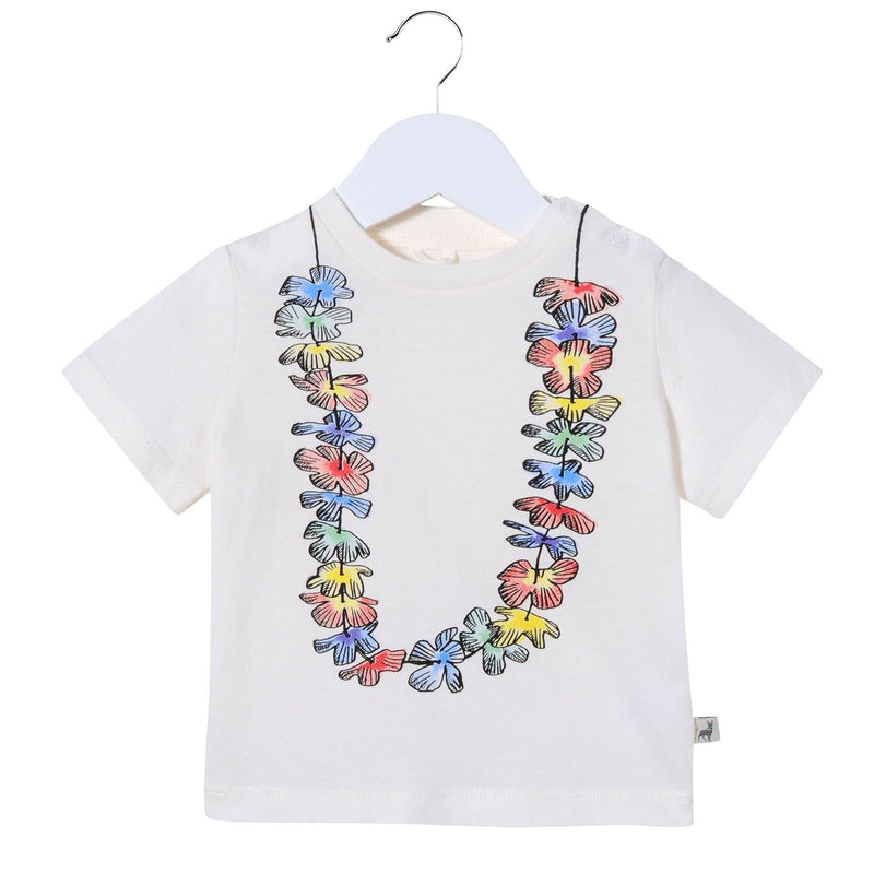 Baby Girls White Cotton Floral Printed T-Shirt - CÉMAROSE | Children's Fashion Store