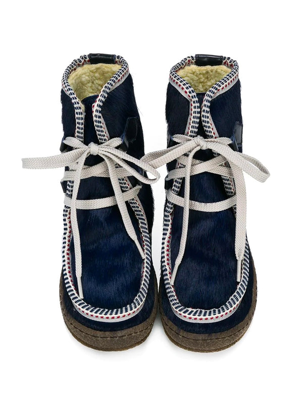 Boys & Girls Blue Leather Boots