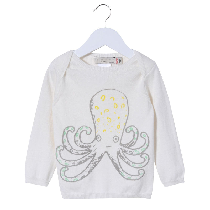 Baby Girls White Cotton Octopus Printed Knitted Sweater - CÉMAROSE | Children's Fashion Store