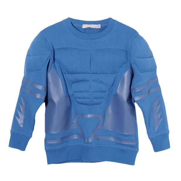 Boys Light Blue Cotton Patch Trims Sweatshirt - CÉMAROSE | Children's Fashion Store