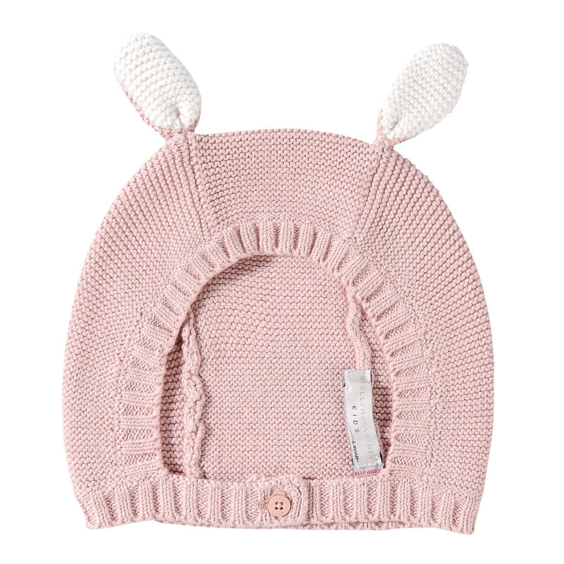 Baby Dark Pink Cotton Knitted Balaclavas With Bunny Ears Trims - CÉMAROSE | Children's Fashion Store
