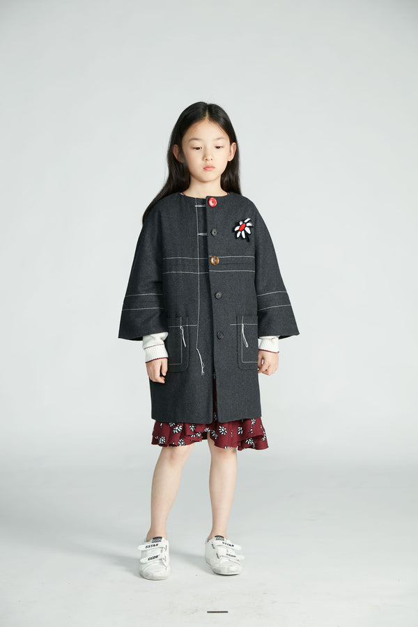 Girls Dark Grey Wool Coat