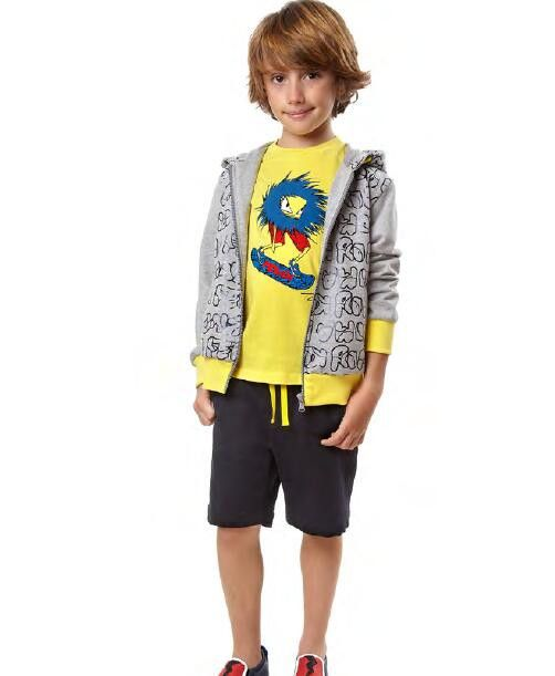 Boys Grey Cotton Printed Trims Zip-up Tops With Yellow Cuffs - CÉMAROSE | Children's Fashion Store - 2