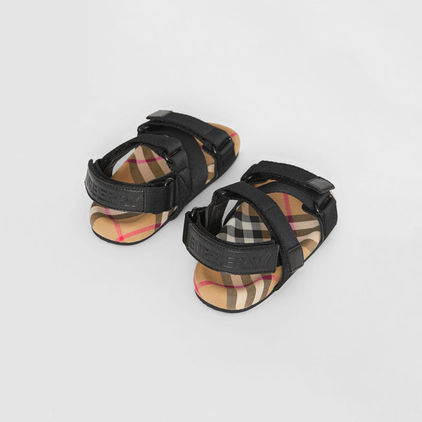 Boys & Girls Black & Antique Cotton Sandals