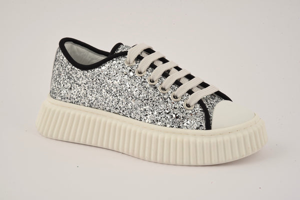 Girls White Sequins Shoes