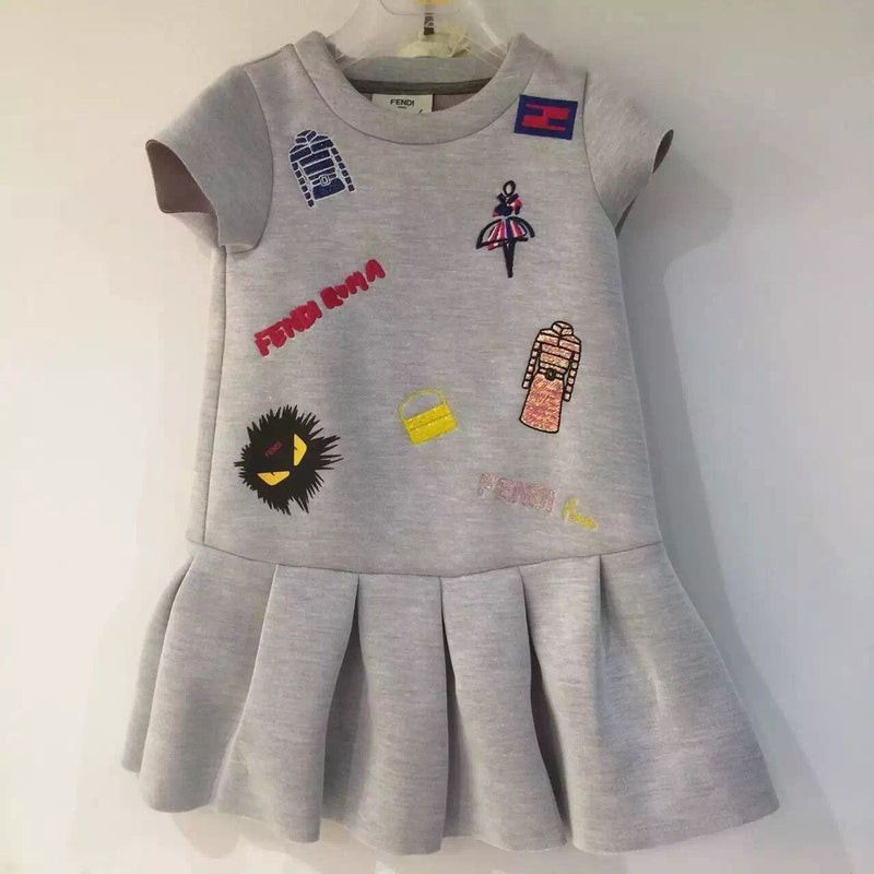 Girls Grey Neoprene Dress With Appliqued Logos - CÉMAROSE | Children's Fashion Store