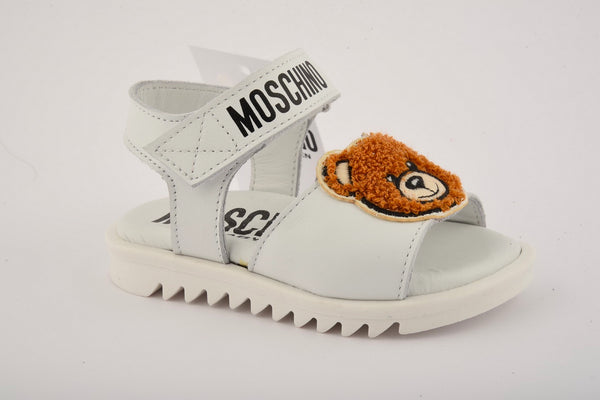 Boys Girls White Patch Teddy Sandals