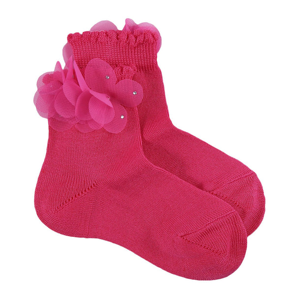 Girls Dark Red Patch Trims Cotton Short Socks - CÉMAROSE | Children's Fashion Store