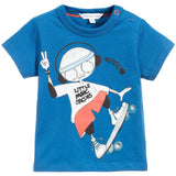 Baby Boys Blue 'Mr Marc' Printed Cotton Jersey T-Shirt - CÉMAROSE | Children's Fashion Store