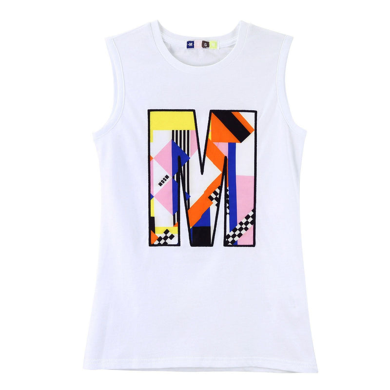 Girls White Jersey Vest With Multicolor 'M' Print Logo - CÉMAROSE | Children's Fashion Store - 1