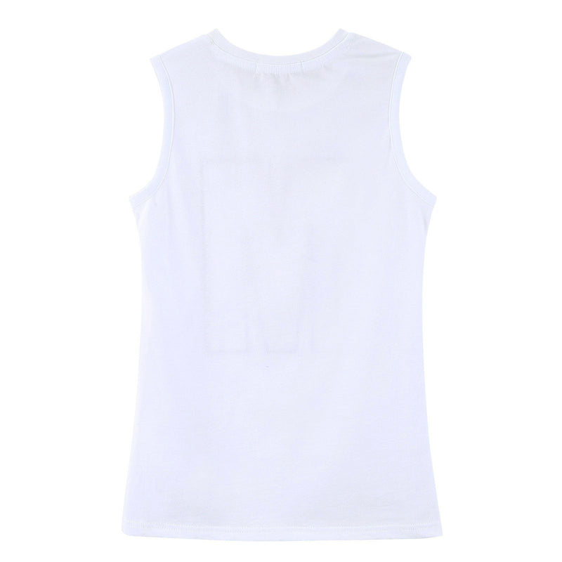 Girls White Jersey Vest With Multicolor 'M' Print Logo - CÉMAROSE | Children's Fashion Store - 2