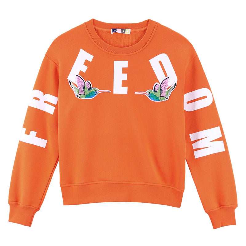 Girls Orange Embroidered Birds Cotton Sweatshirt - CÉMAROSE | Children's Fashion Store - 1