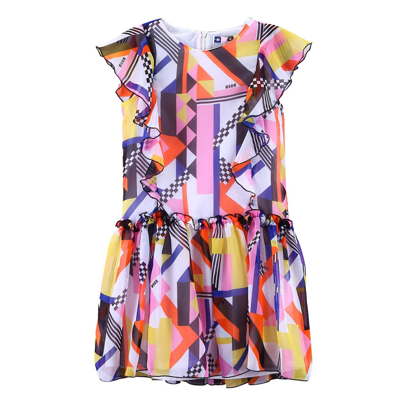 Girls Multicolor Printed Frilled Silk Dress - CÉMAROSE | Children's Fashion Store - 1