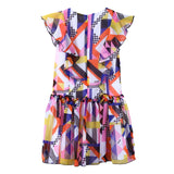 Girls Multicolor Printed Frilled Silk Dress - CÉMAROSE | Children's Fashion Store - 2