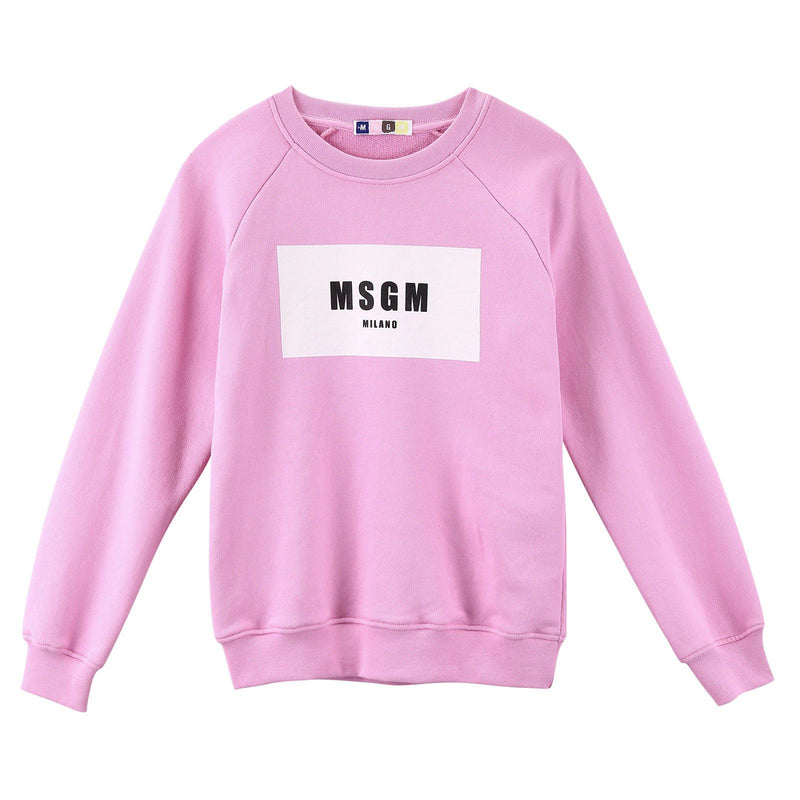 Girls Pink Cotton Sweatshirt With White Brand Logo - CÉMAROSE | Children's Fashion Store - 1