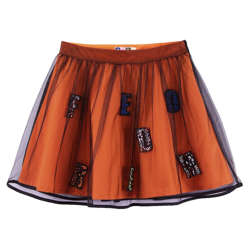 Girls Orange&Black Cotton Skirt With Multicolor 'Freedom' Logo - CÉMAROSE | Children's Fashion Store - 1