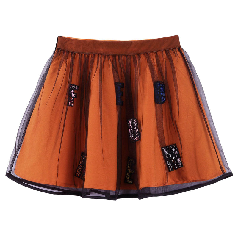 Girls Orange&Black Cotton Skirt With Multicolor 'Freedom' Logo - CÉMAROSE | Children's Fashion Store - 2