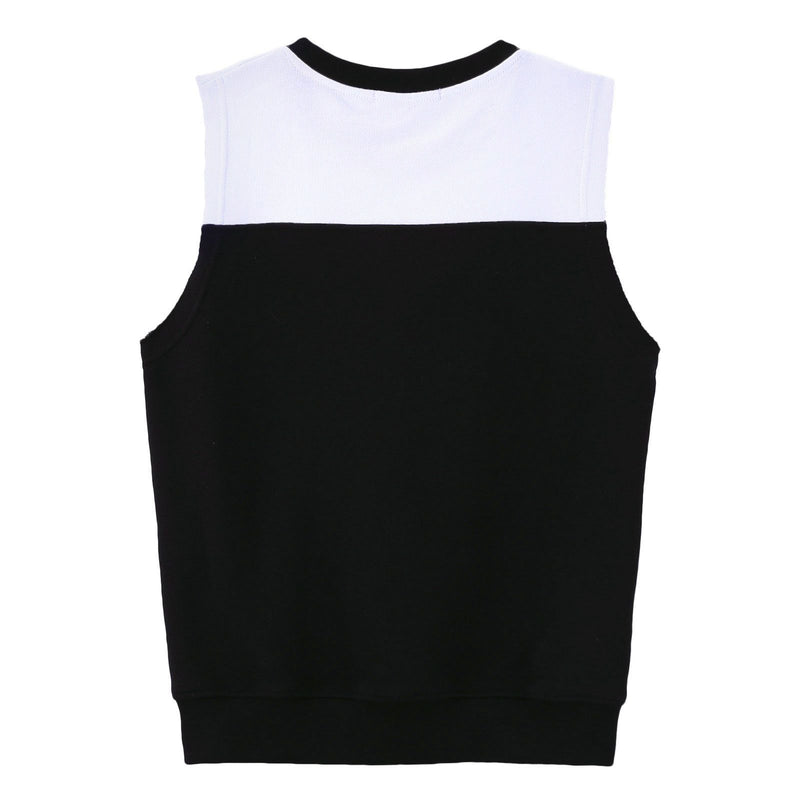 Boys Black Cotton Sleeveless Sweatshirt With Brand Logo - CÉMAROSE | Children's Fashion Store - 2