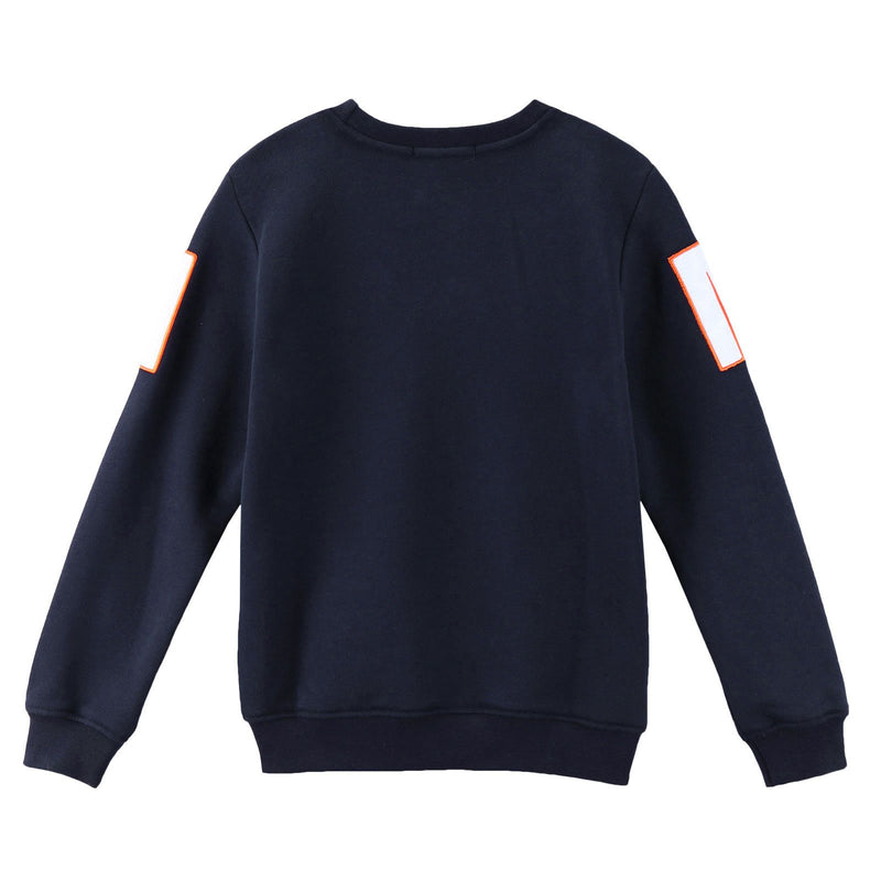 Boys Blue Knitted Sweatshirt With Brand  Logo - CÉMAROSE | Children's Fashion Store - 2